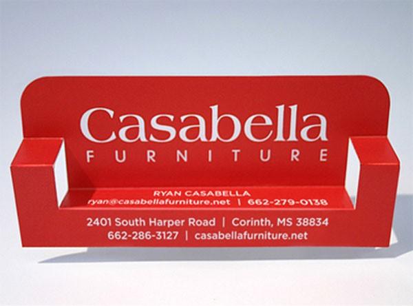 כרטיס ביקור לחנות רהיטים שמתקפל לספה.