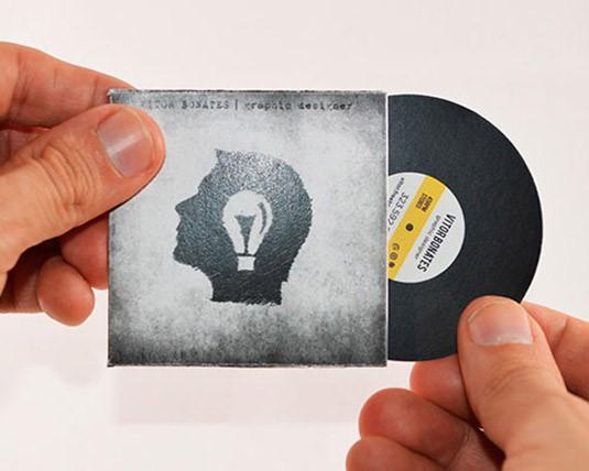 כרטיסי ביקור בצורות שונות : תקליט וניל