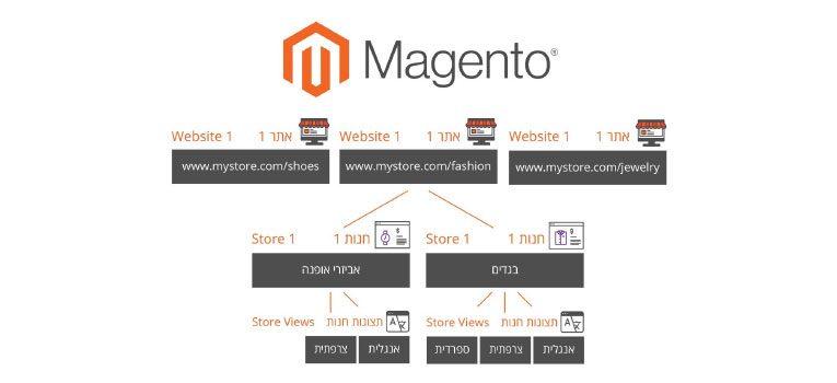 Website, Store, Store View: מדריך להקמה וניהול של מספר חנויות עבור אותו אתר