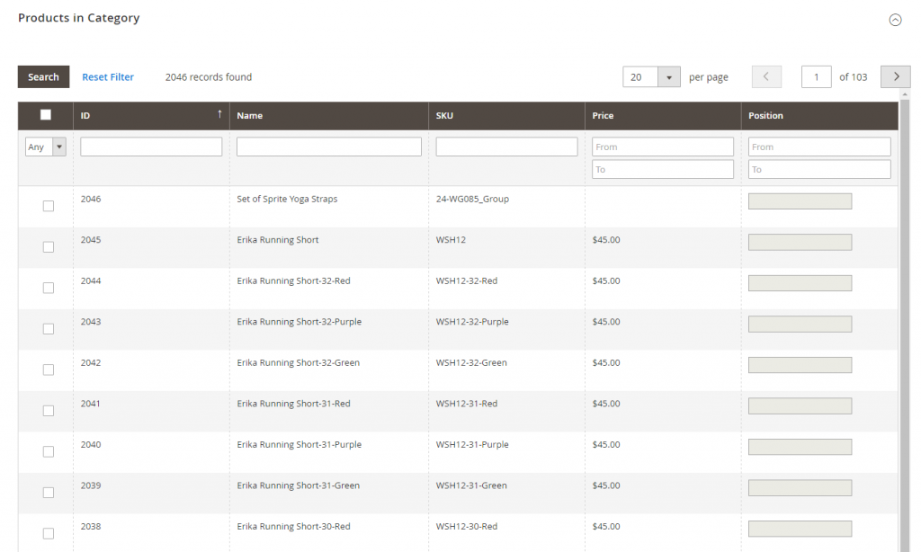 products in category magento 2