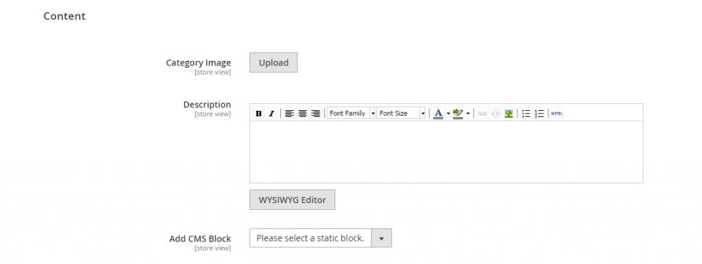 content category editor magento 2