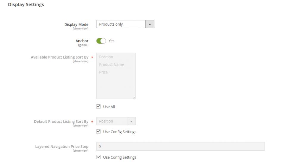 display settings category editor magento 2